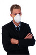 businessman with respirator