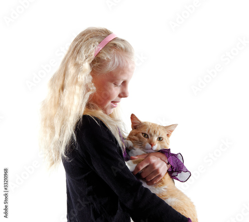 Girl and cat.