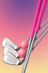 Ladies fashion golfclubs and balls