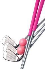 Ladies golfclubs and pink golfballs. Isolated