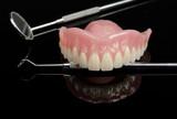 denture,upper jaw, instruments, black acrylic poster