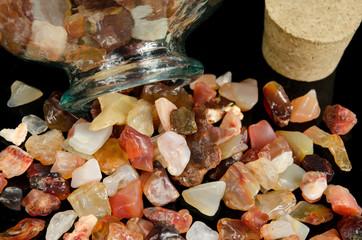assorted minerals,spilled