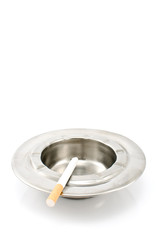 Cigarette  in  metal ashtray