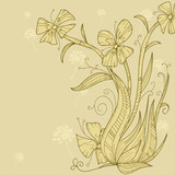 Abstract flower background hand draw