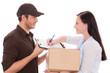 frau paket post postmann