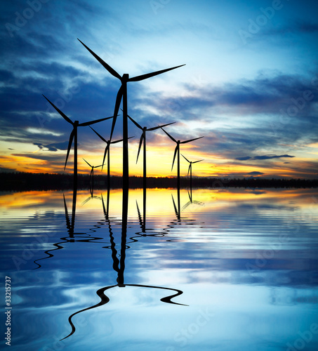 Wind Power at Sunset - 33215737