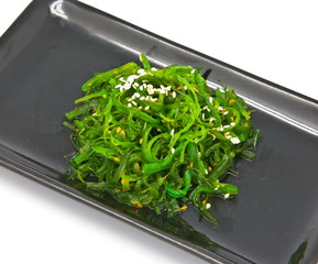 Japanese Cuisine , Seaweed Salad in black plate