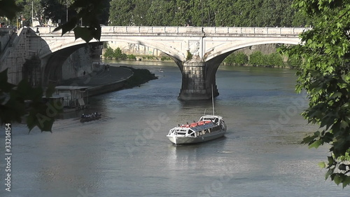 Boat in the Tiber RIver, Rome, Italy - HD