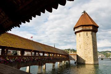 Chapel Bridge and Water Tower, Lucerne, Switzerland