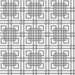 Geometrical seamless pattern with intertwining black squares.