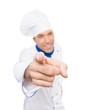 Chefkoch zeigt mit Finger