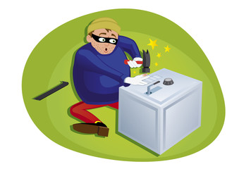 thief steeling money from security safe