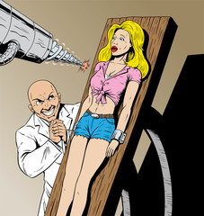 Girl captured by evil scientist and in danger.