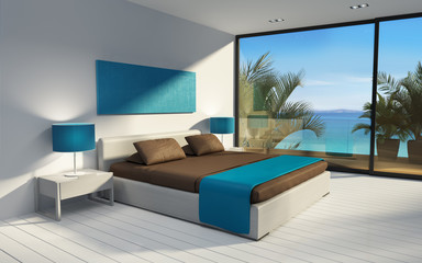 3d Blue minimal modern mediterranean room in greece