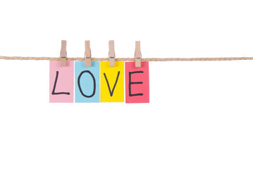 Love, Wooden peg  and colorful words