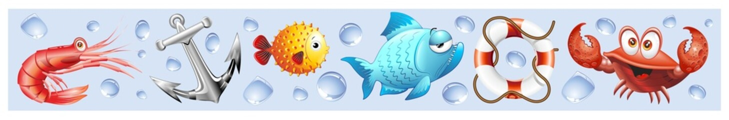 Animali Mare Sfondo Banner-Sea Animal Background-Vector-3