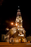 Lutheran church at night poster