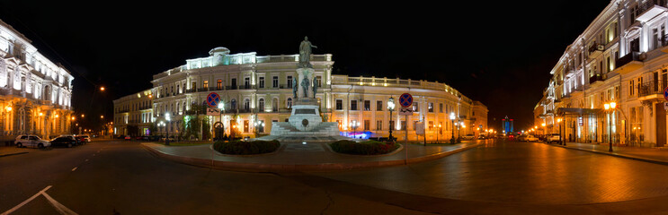 Night panorama of Ekaterininskaya square. Odessa. Ukraine