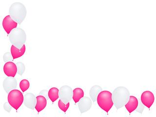Ballons blancs et roses en coin