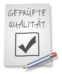 """Papier & Bleistift Illustration """"Geprüfte Qualität"""""""