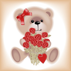 Girl Teddy Bear with flowers.