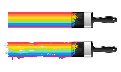 Brush with rainbow line. Abstract background. Vector.