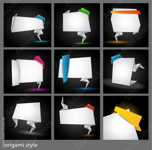 Origami style paper panel for advertising