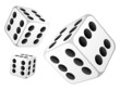 Dice with six dots. Vector illustration.