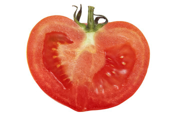 Fresh cut half of tomato isolated on white