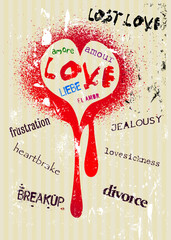 Grungy style love concept
