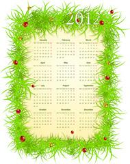 Vector illustration of spring 2012 calendar