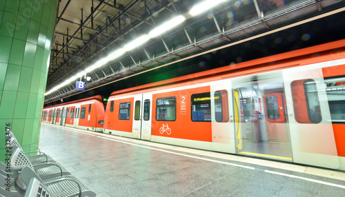 subway station with a train in Munich, Germany