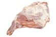 Closeup of defrosted raw lamb leg isolated on white