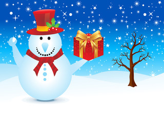 abstract christmas snowman with gift