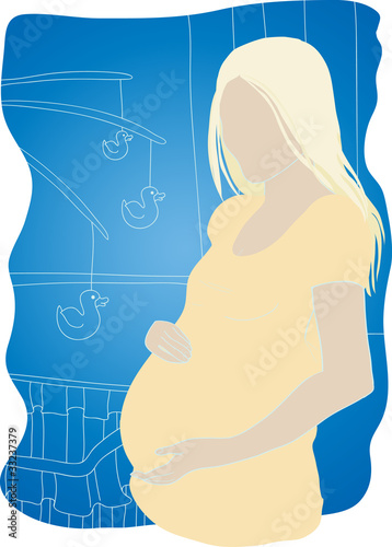 Silhouette of a pregnant woman against the children's beds