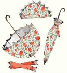 Illustration of vintage umbrella, fan, glove