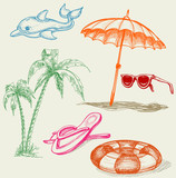 Summer beach holiday items poster