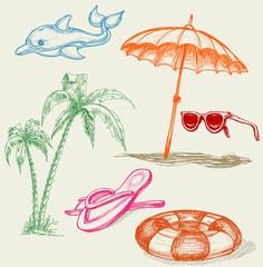 Summer beach holiday items