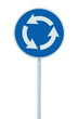 Roundabout road traffic sign isolated blue white arrows