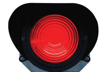 Red light railway traffic dwarf signal stop danger, isolated