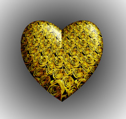 Yellow roses heart