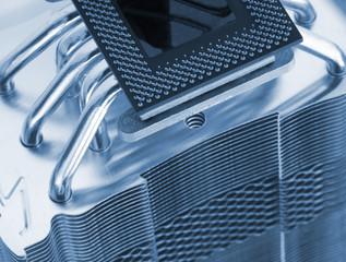 Modern computer processor with big cooler