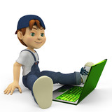 boy cartoon and his laptop side view