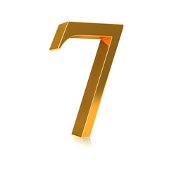 """3d Gold number """"7"""""""