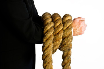 arms bound in rope