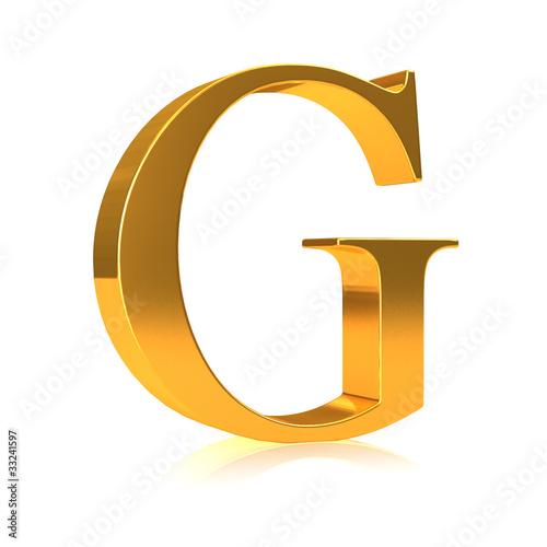 """3d Gold letter """"G"""""""