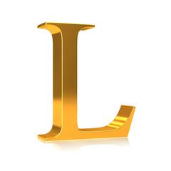 """3d Gold letter """"L"""""""