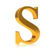 """3d Golden letter """"S"""""""