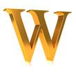 """3d Golden letter """"W"""""""