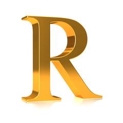 """3d Golden letter """"R"""""""